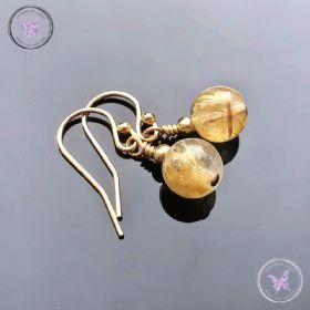 Golden Rutilated Quartz Gold Earrings